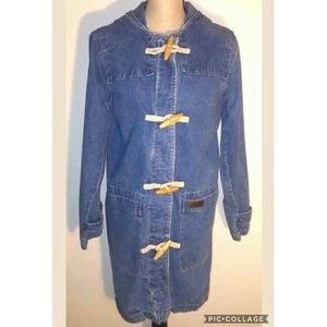 Denim & Co. Denim Wood Toggle Blue Jean Jacket